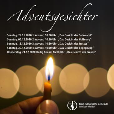 """Gottesdienste im Advent und an Heiligabend im Gemeindezentrum – """"Adventsgesichter"""""""